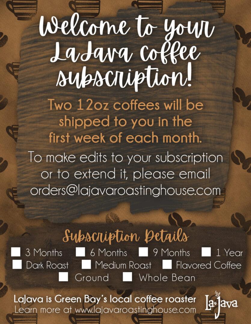 Coffee Subscription Recipient Card